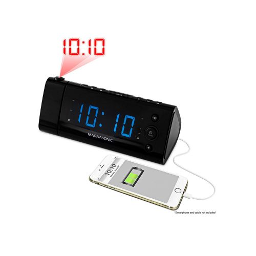 3.Electrohome USB Charging Alarm Clock Radio with Time Projection (EAAC475)