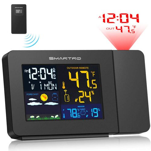 6. SMARTRO Projection Alarm Clock for Bedrooms with Weather Station